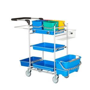 Ergonomisk rengøringsvogn med drypsystem og 4 spande