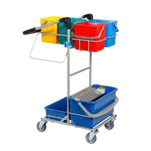 Ergonomisk rengøringsvogn med drypsystem og 4 spande i mini udgave