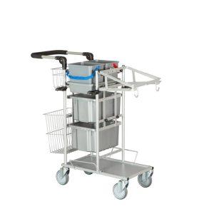 Ergonomisk rengøringsvogn med kop og fugt system