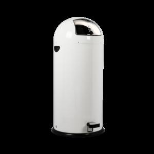 Push-bin i hvid med pedal på 52 liter