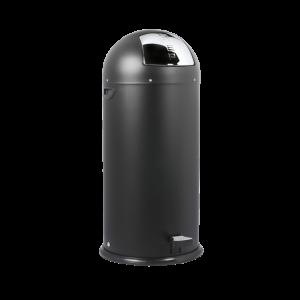 Push-bin i sort med pedal på 52 liter